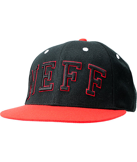 Neff Champ Black & Red Arch Snapback Hat