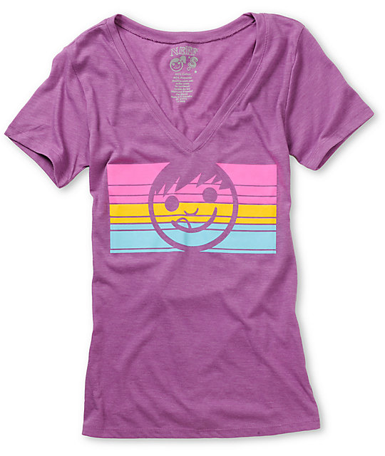 Neff Dacoda Purple & Neon V-Neck T-Shirt