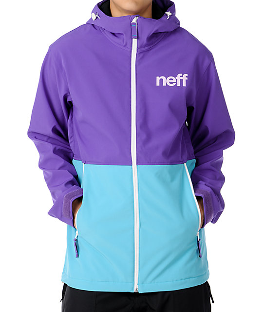 Neff Daily 10K Purple & Teal Technical Softshell Mens Snowboard Jacket