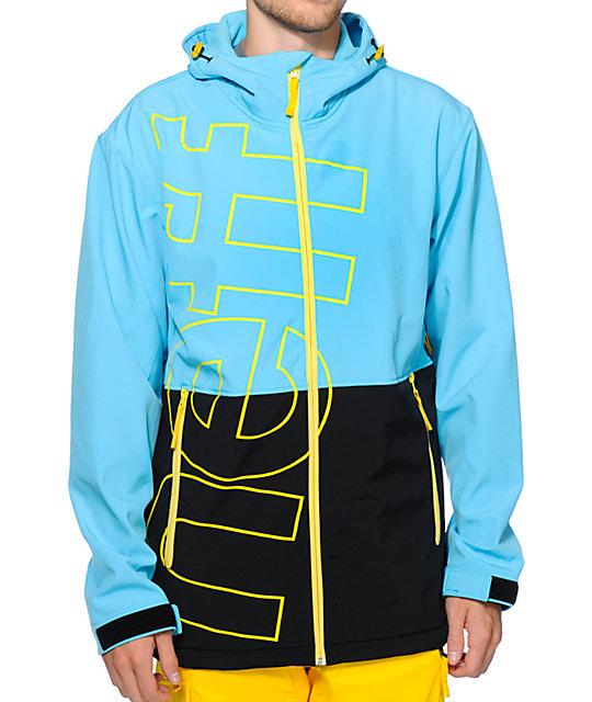 77fbd9d3883 Neff Daily 10k Cyan   Black Softshell Snowboard Jacket
