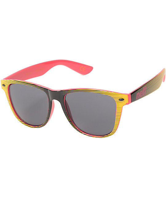 Neff Daily Sunglasses Black Yellow Pink pSUS9Dn90