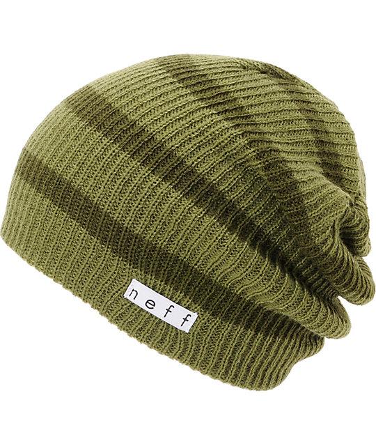 Neff Daily Olive   Green Stripe Beanie  2e47fa5ddff