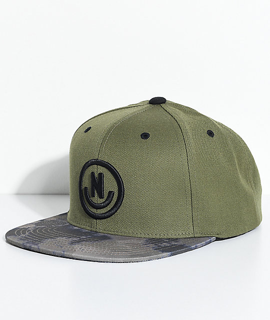 Neff Daily Smile Olive Green   Camo Snapback Hat  dcd5e5b3a4e