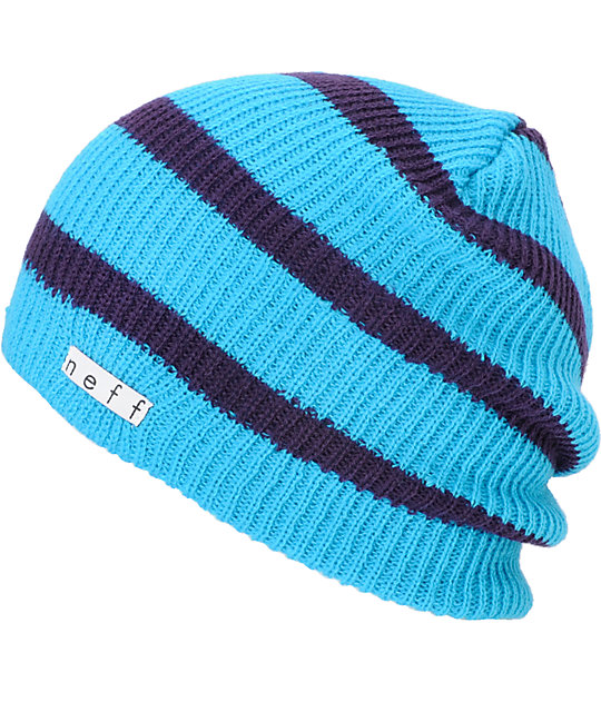 Neff Daily Striped Cyan & Purple Beanie