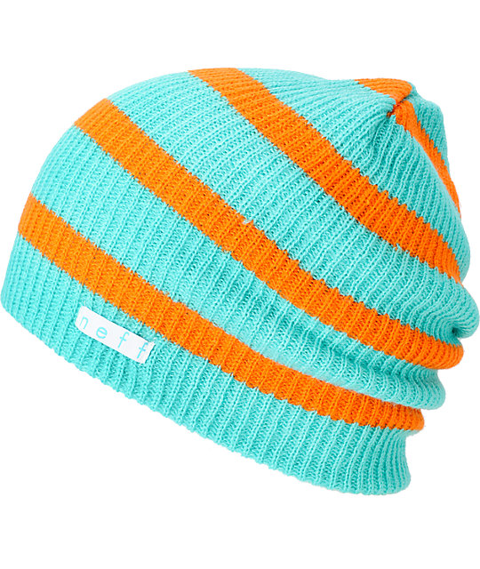 Neff Daily Teal & Orange Stripe Beanie