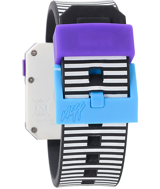 Neff Digi Black & White Stripe Digital Watch