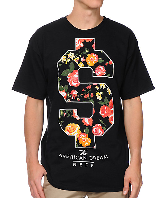 Neff Flash Doller Black & Floral Print T-Shirt