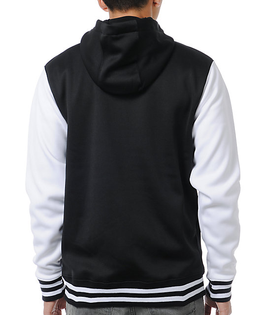 Neff Frosh Black & White Varsity Zip Up Tech Fleece Jacket