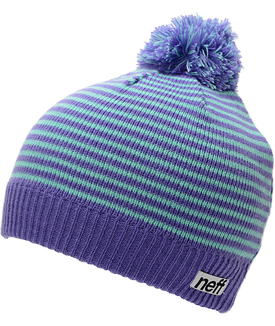 Neff Hazel Purple & Blue Stripe Pom Beanie