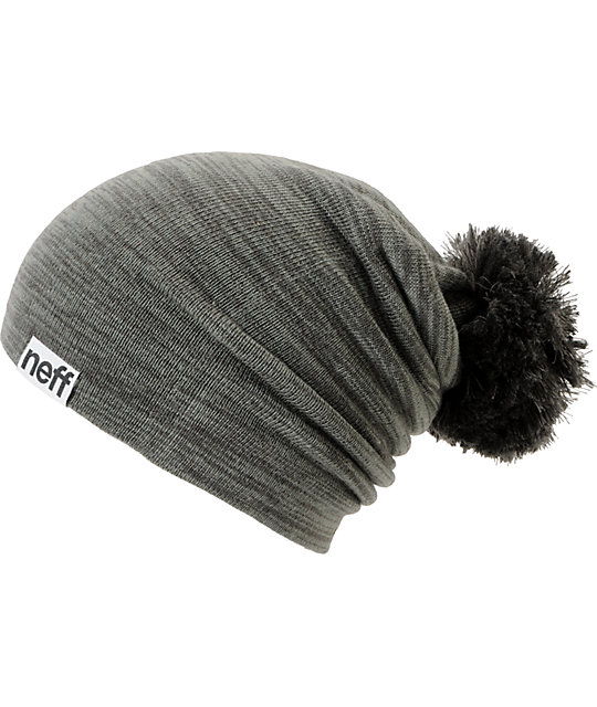 Neff Heather Grey Pom Beanie