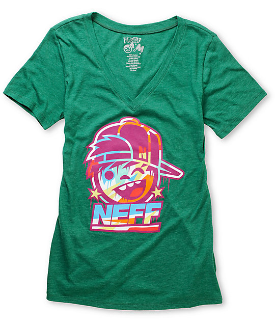 Neff Kenni Drip Heather Green V-Neck T-Shirt