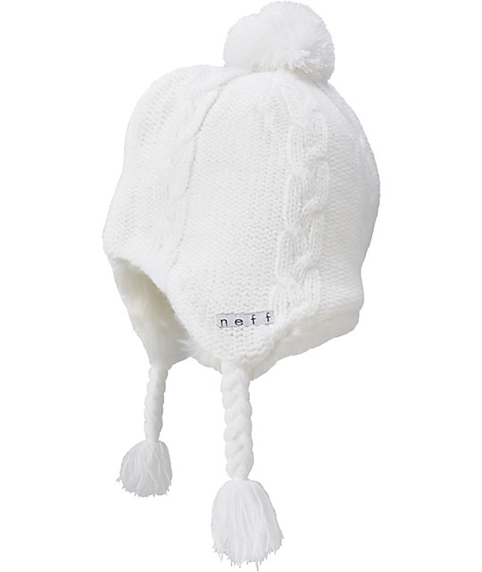 Neff Little Pom White Furry Beanie
