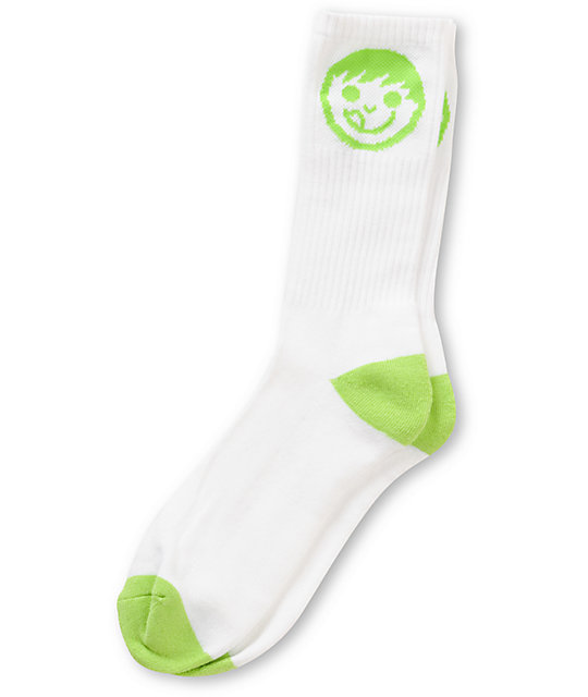 Neff Logo White & Green Crew Socks