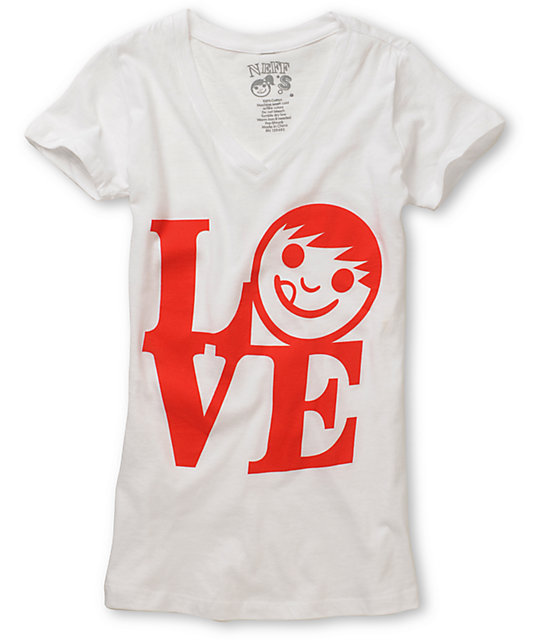 Neff Love White V-Neck T-Shirt