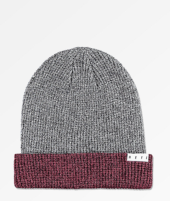bdfa99d5c99 Neff Peg Black   Maroon Heather Beanie