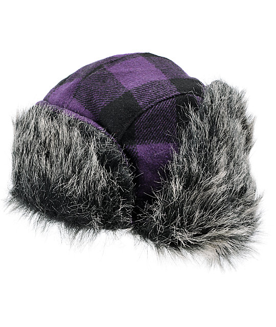 Neff Purple Plaid Bomber Beanie