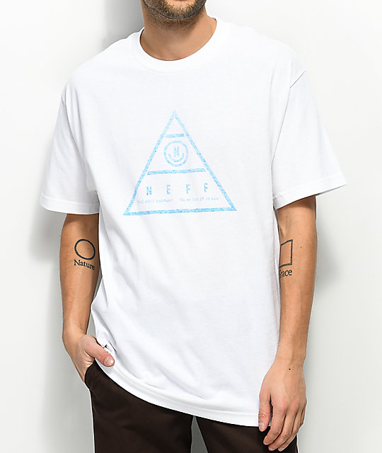 Neff Pyra Triangle White & Teal T-Shirt