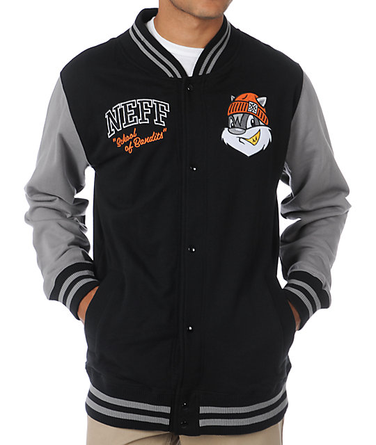 Neff School Black Letterman Fleece Jacket