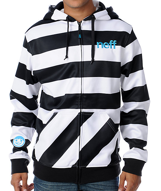 Neff Shredder Black Stripe Mens Tech Fleece Jacket