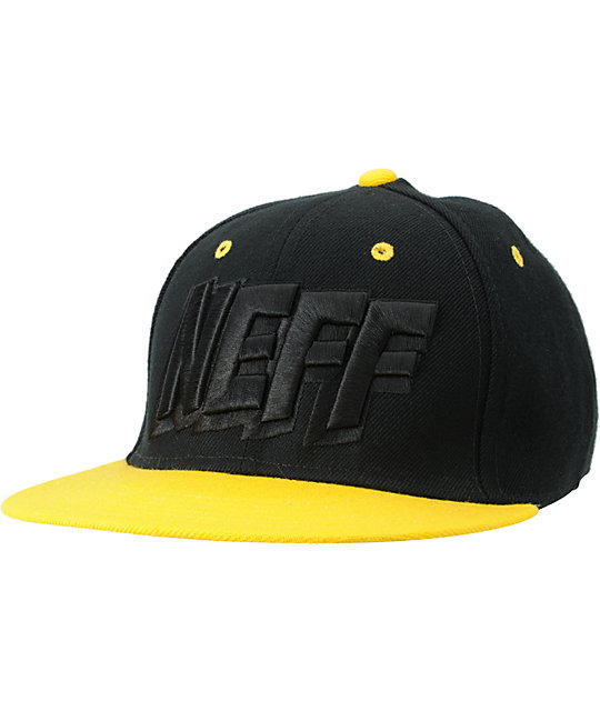 Neff Streets Snoop Black & Yellow Snapback Hat