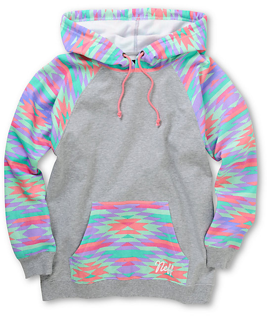 Neff Vacation Grey & Native Print Pullover Hoodie