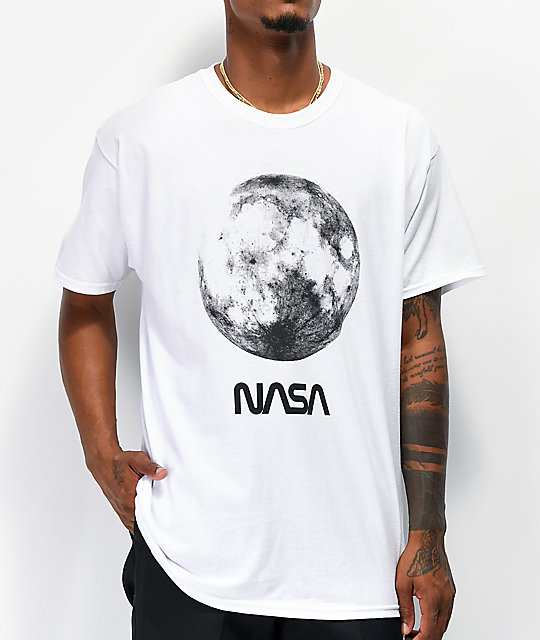 Neon Riot x NASA Full Moon camiseta blanca