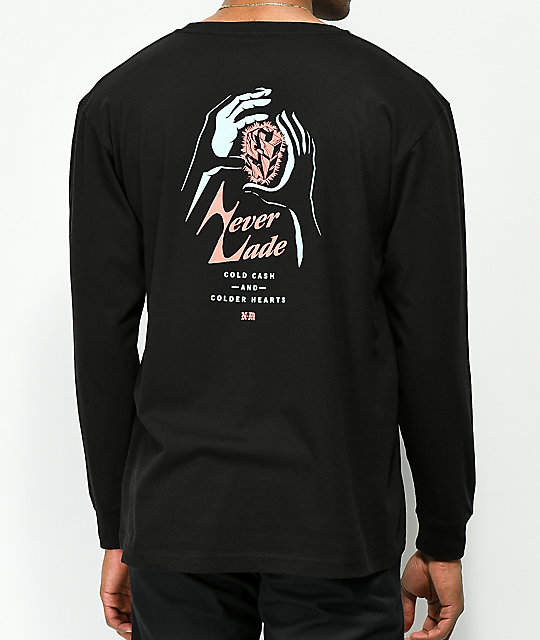 Never Made Cold Cash Black Long Sleeve T-Shirt