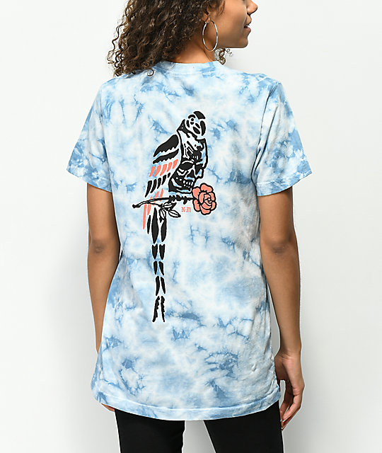 Never Made Death Parrot camiseta azul con efecto tie dye