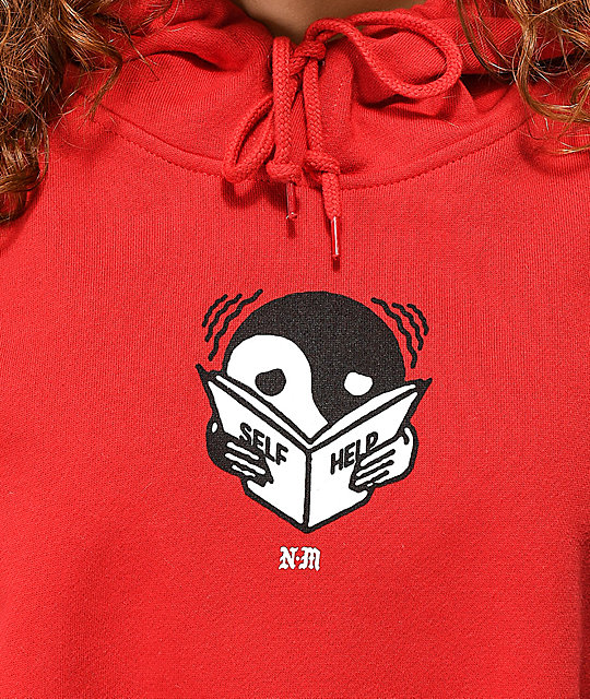 Never Made Existential Crop Red Hoodie