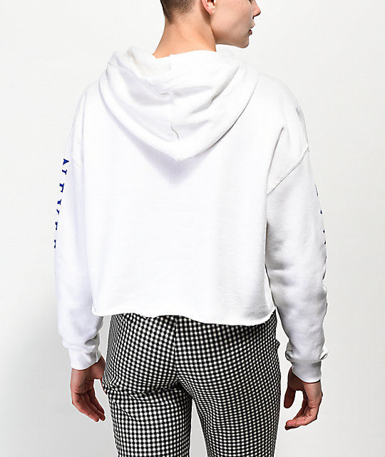 Never Made Flaming Hand White Crop Hoodie