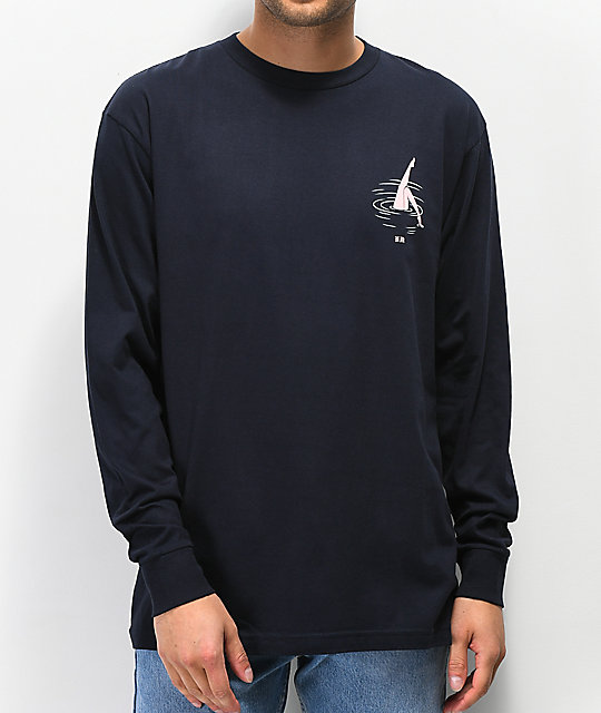 Never Made Swimmer Navy Long Sleeve T-Shirt