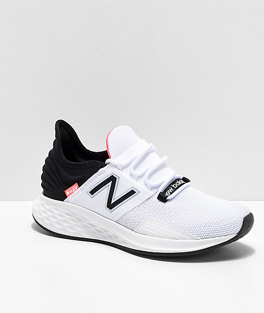 sale retailer cec83 dfc1f New Balance Fresh Foam Roav White, Black   Pink Shoes   Zumiez