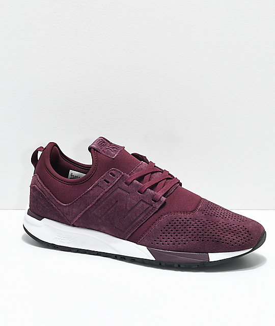 New Balance Lifestyle 247 Burgundy & White Suede Shoes