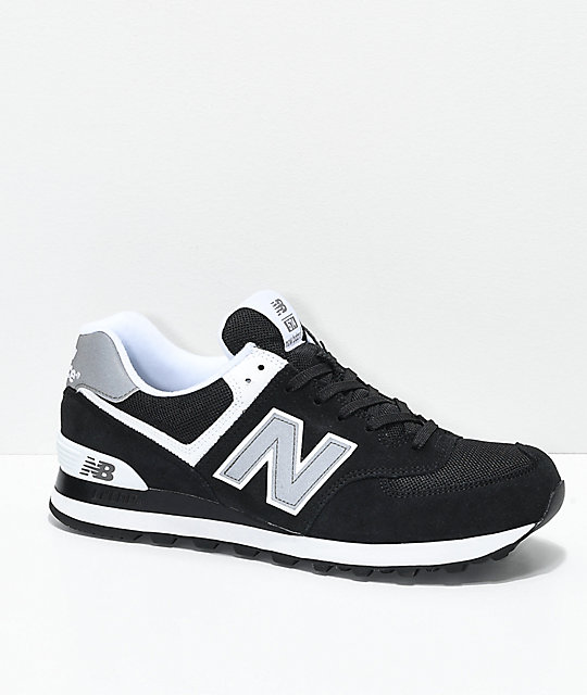 New Balance Lifestyle 574 Black & White Shoes ...