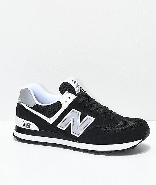 New Balance Lifestyle 574 Black & White Shoes | Zumiez