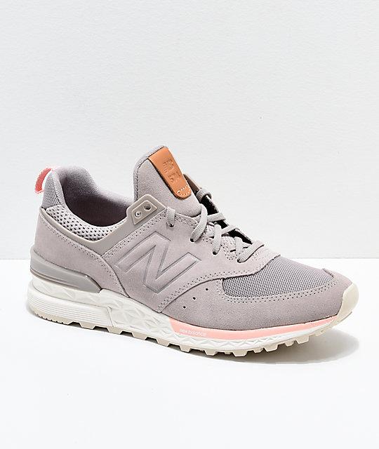cheaper 7044a d9f51 New Balance Lifestyle 574 Sport Flat White   Himalayan Pink Shoes   Zumiez