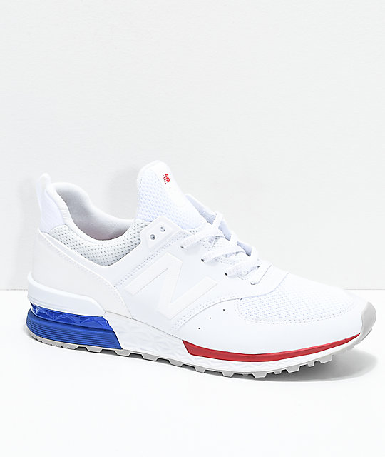 New Balance Lifestyle 574 Sport White, Blue & Red Shoes