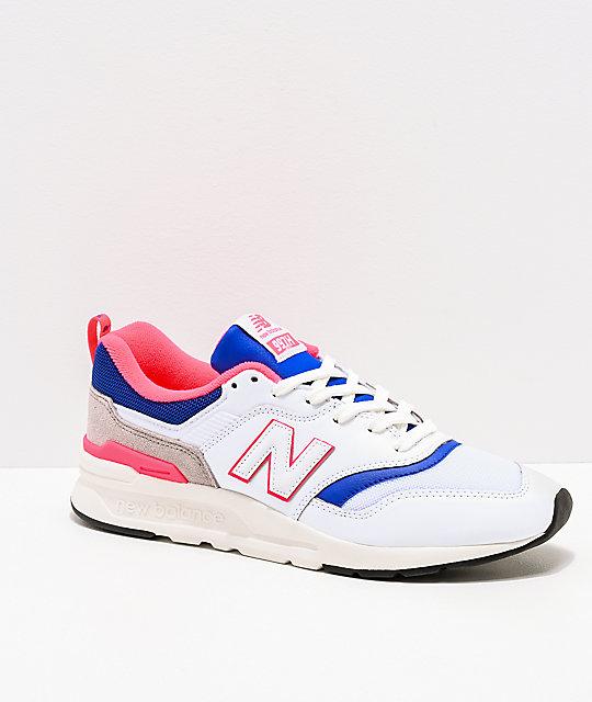 best sneakers d86e6 f9234 New Balance Lifestyle Men s 997H White, Lazer Blue   Pink Shoes   Zumiez