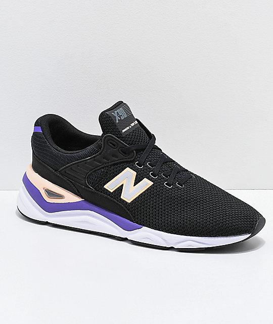 0f451e3612501 New Balance Lifestyle X-90 Black & Purple Shoes | Zumiez