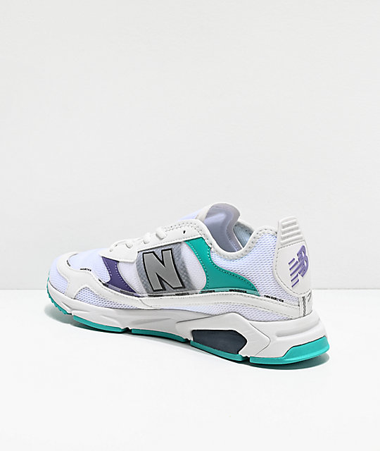 New Balance Lifestyle X-Racer White, Violet & Green Shoes