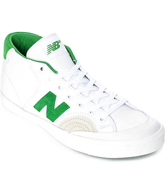 newest e6984 cae85 New Balance Numeric 213 Pro Court White   Green Mid-Top Shoes   Zumiez