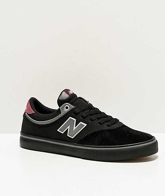 Encantador gancho este  New Balance Numeric 255 Black & Burgundy Skate Shoes | Zumiez