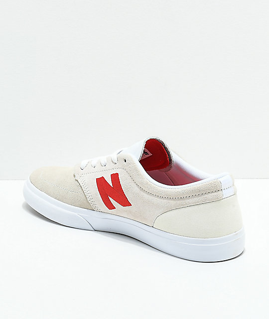 New Balance Numeric 345 Off-White & Red Skate Shoes