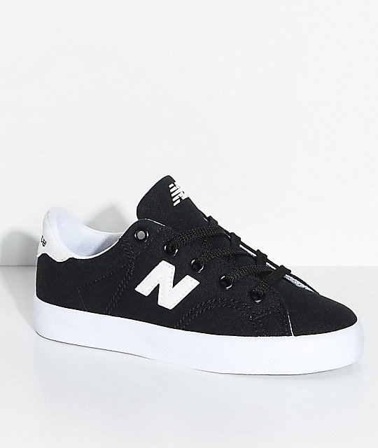 New Balance Numeric Kids Court Black & White Canvas Skate Shoes