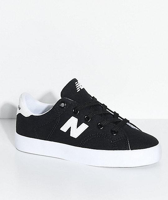 99c9624575 New Balance Numeric Kids Court Black & White Canvas Skate Shoes