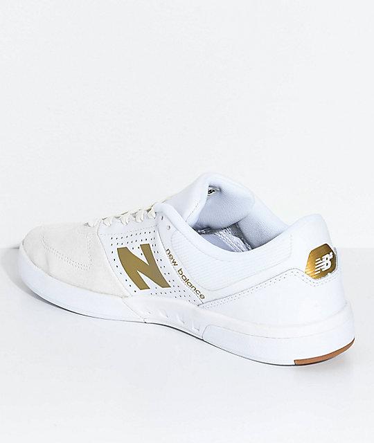 dbdb812b2058f ... New Balance Numeric PJ Stratford 533 V2 White & Gold Skate Shoes ...