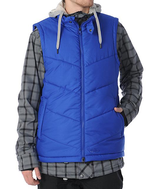 1b37f6506e7e Nike 6.0 Bellevue Grey   Blue 10K Mens Snowboard Jacket