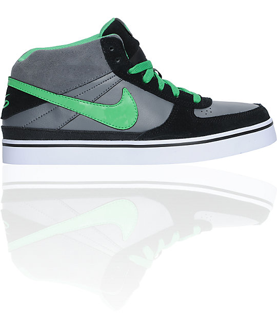 Nike 6.0 Kids Mavrk Mid Black, Grey, & Hyper Verde Shoes
