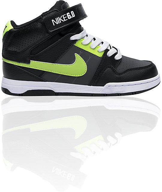 buy online 58f72 9fd6a Nike 6.0 Kids Mogan Mid 2 Jr. Black, Neon Yellow   Grey Skate Shoes   Zumiez