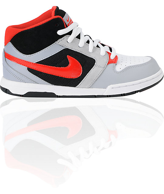 reputable site 83c90 a8995 Nike 6.0 Kids Mogan Mid 3 Jr. Grey, Black,   Red Skate Shoes   Zumiez